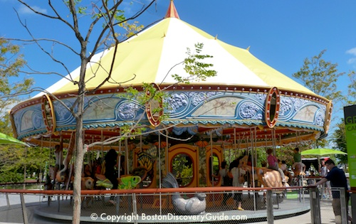 Carousel on Rose Kennedy Greenway across from Faneuil Marketplace in Boston, MA