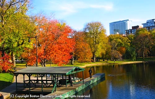 Lagoon in Boston Public Garden - photo taken November 7, 2009 - Temperature 50 degrees / Boston Weather - www.boston-discovery-guide.com
