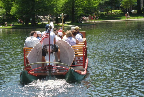 Swan boats are operated by pedal-power