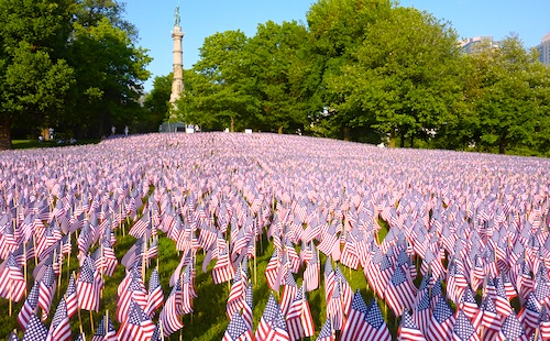 Garden of Flag on Memorial Day weekend in Boston, MA