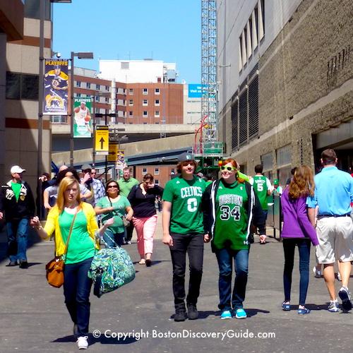 Boston neighborhoods:  Boston Celtics fans near TD Garden in the West End