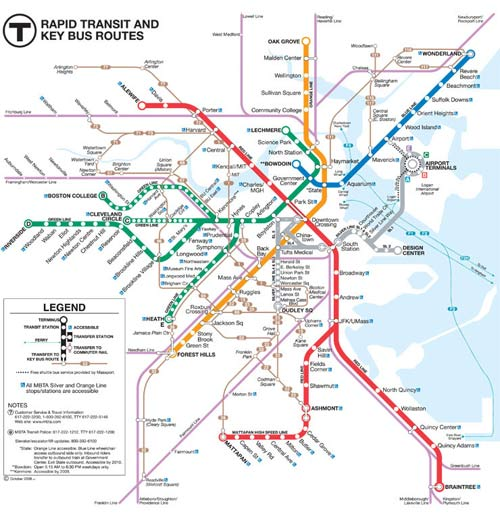 Boston subway map  / Boston Subway - www.boston-discovery-guide.com