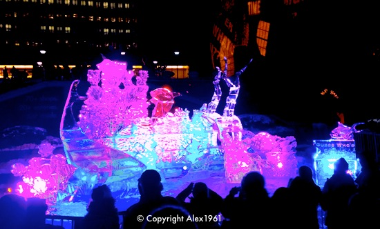 First Night Boston ice sculpture of frogs - photo courtesy of Tim Sackton