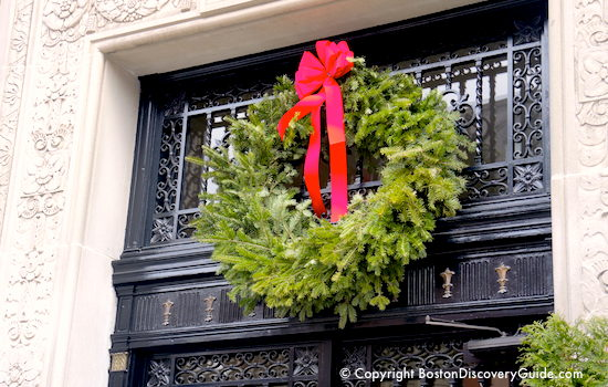 Christmas wreath in Boston's Beacon Hill