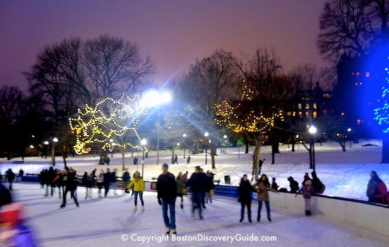 Ice skating in December on Frog Pond in Boston Common