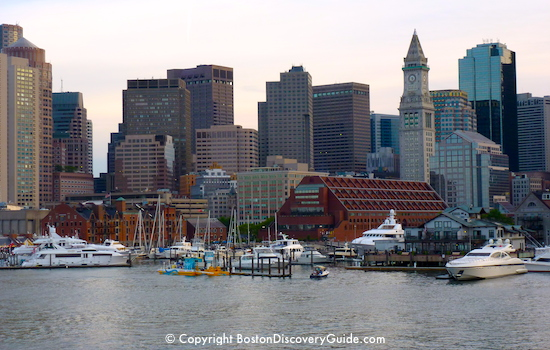 Boston skyline, photographed from the Harbor