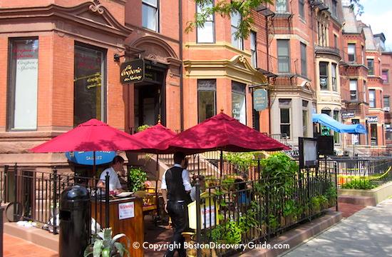 Boston event calendar June - Boutiques along Newbury Street on a beautiful June afternoon