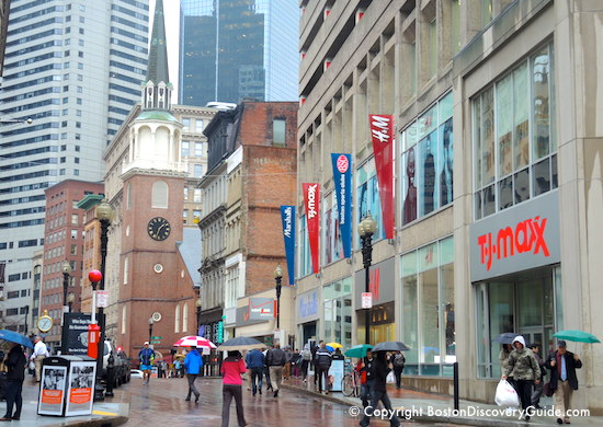 Downtown Crossing Boston in the rain / Boston Activities / www.boston-discovery-guide.com