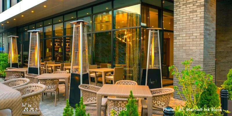 Outdoor terrace at AC Marriott Ink Block