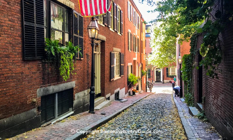 Acorn Street in Beacon Hill - about a 5-minute walk from the Wyndham Hotel