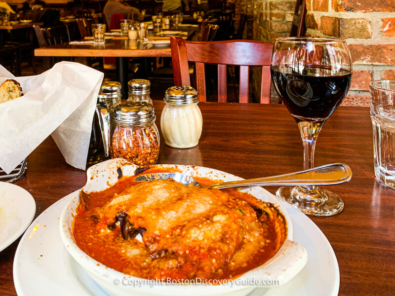 Baked eggplant at Antico Forno in the North End