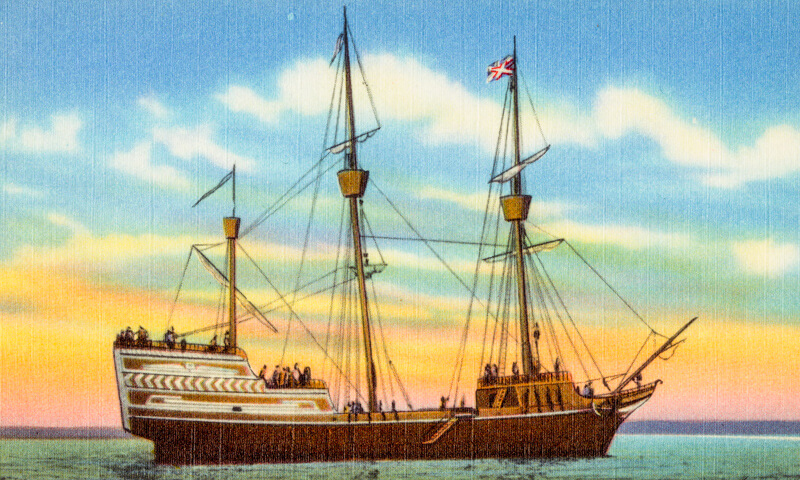 The Arbella, as depicted in an early 20th century postcard now in the Boston Public Library