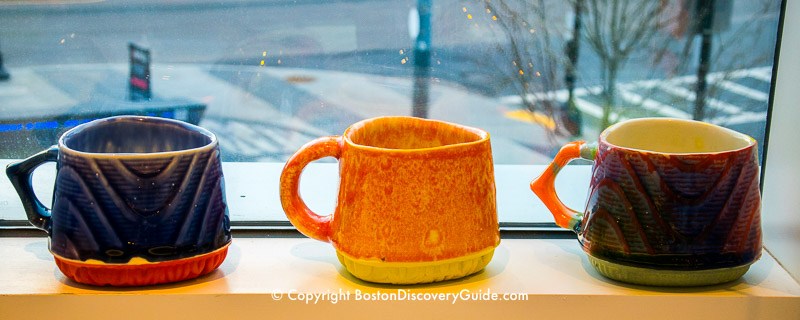 Pottery on display at the Boston Society of Arts & Crafts in Seaport