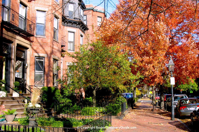 Boston weather in November - fall foliage in Back Bay