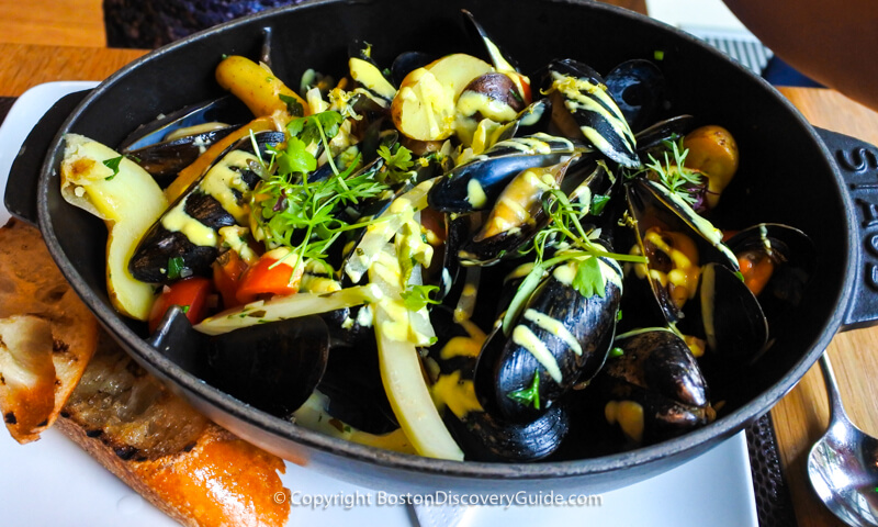 Mussels and potatoes at Bar Boulud
