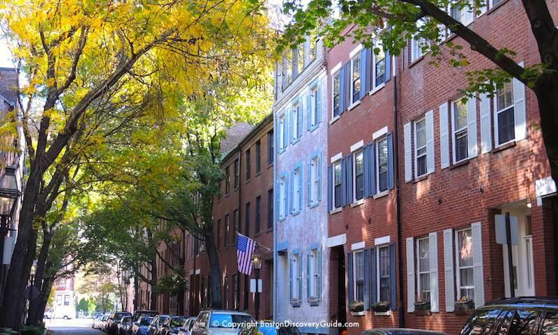 Golden leaves in Boston's historic Bay Village neighborhood