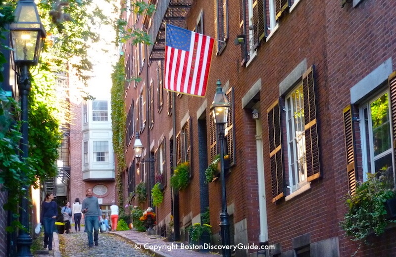 Acorn Street in Boston's Beacon Hill neighborhood in early October - still lots of green!