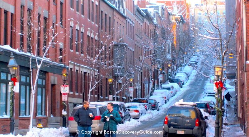 Icy street in Boston's Beacon Hill neighborhood in January