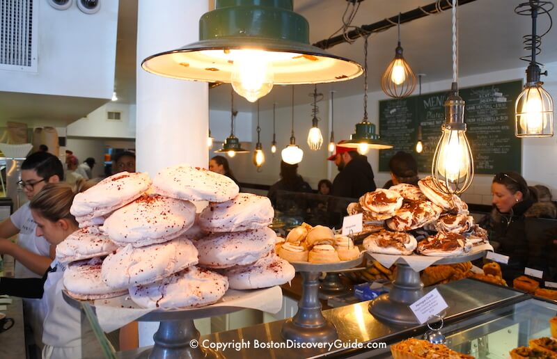 Mouth-watering meringues and other pastries at Tatte Bakery on Beacon Hill