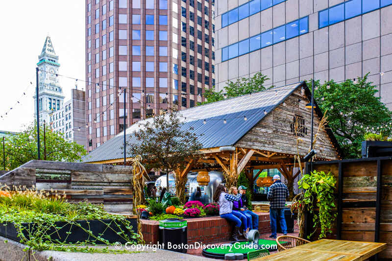 Boston Seasons pop-up beer garden next to City Hall Plaza