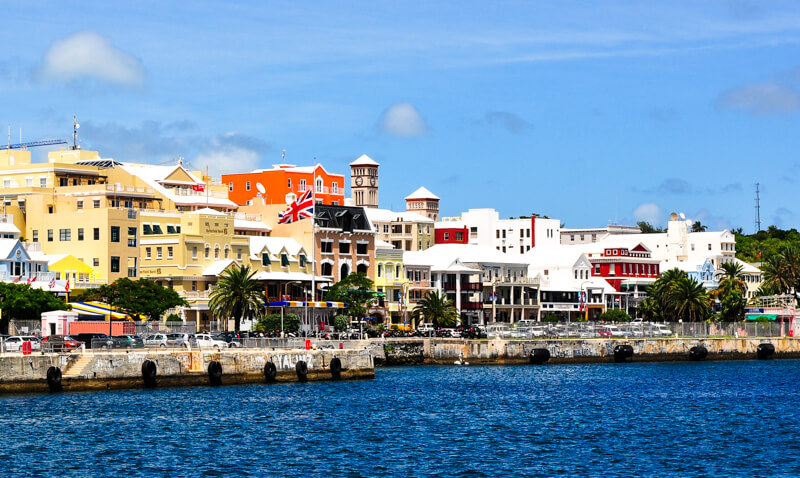 Pastel-colored buildings along Front Street in Hamilton, Bermuda