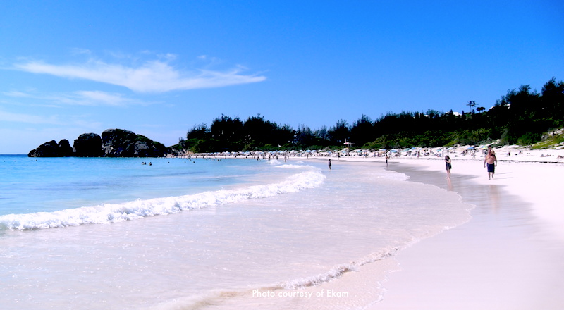Cruises from Boston - Pink sand and turquoise water at Horseshoe Bay Beach, Bermuda