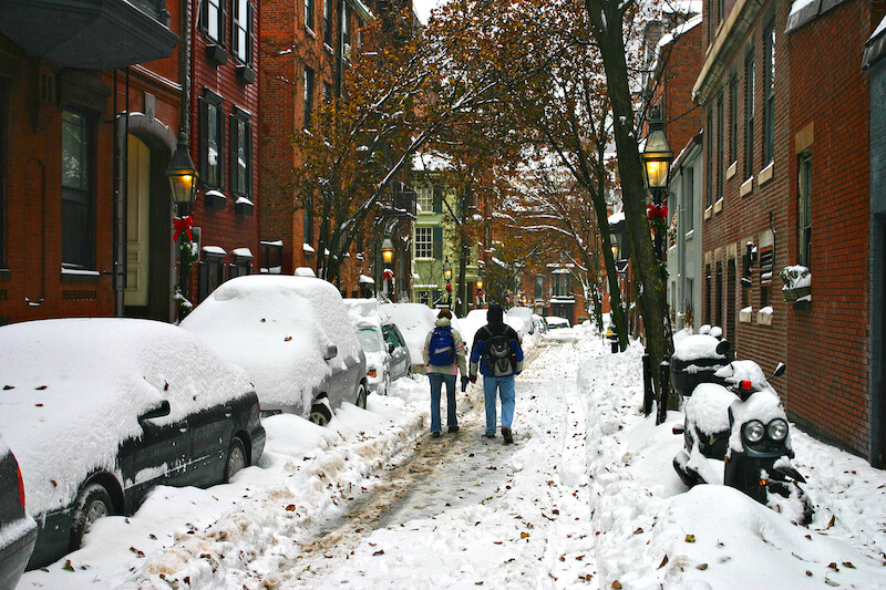 Street in Boston's Back Bay neighborhood still buried by snow after a blizzard