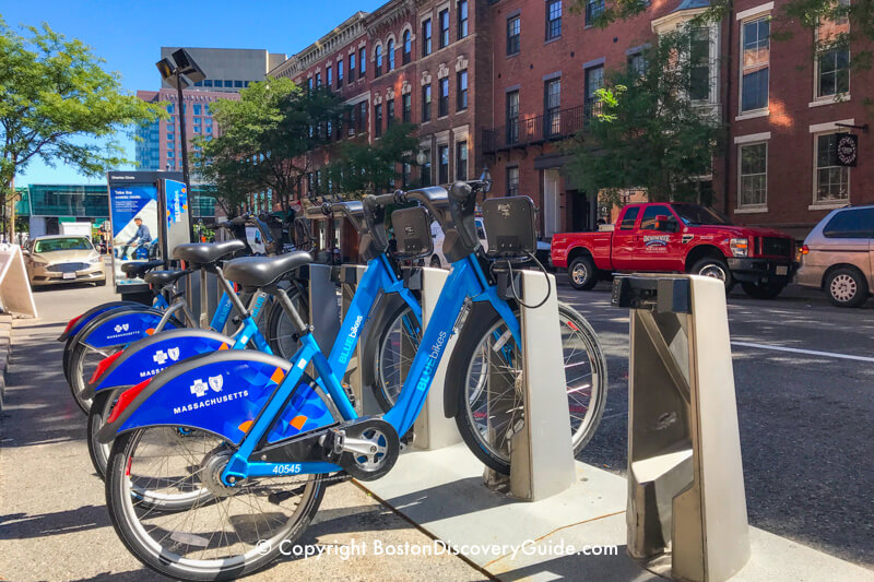 Blue Bikes bike stand on Charles Street in Beacon Hill