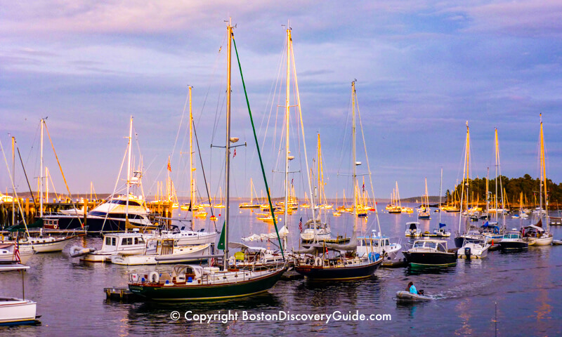 Boats in a Maine harbor along the coast