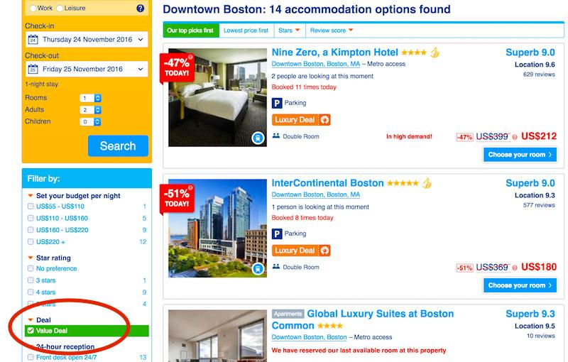 Best deals on Boston hotels