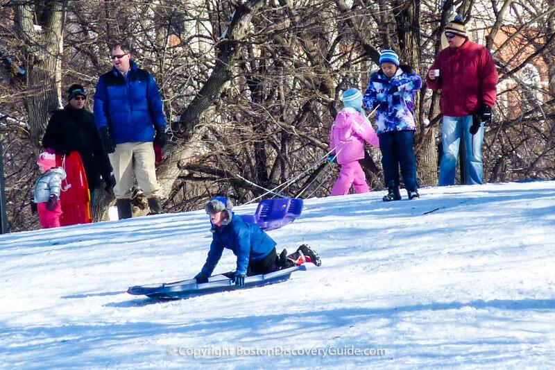 Boston winter break week - ice skating on Frog Pond