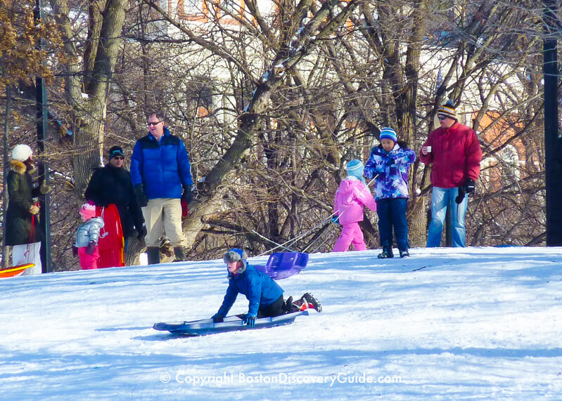 Sledding down a hill on Boston Common
