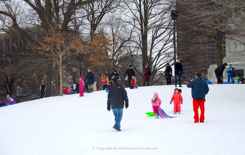 Sledding down a small hill on Boston Common - popular winter activity