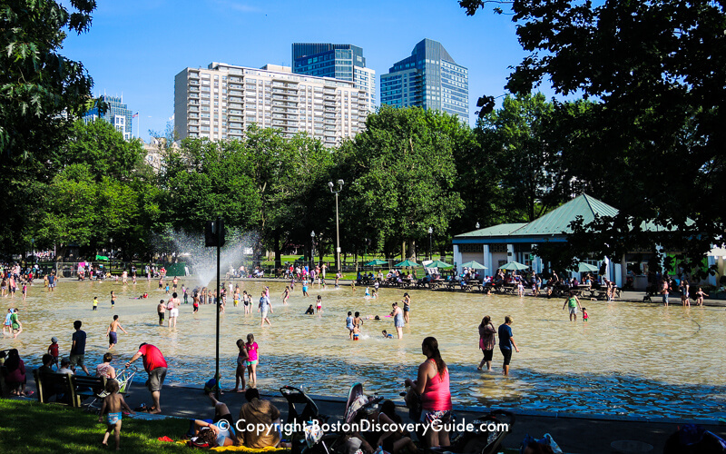Splash pool at Frog Pond in August