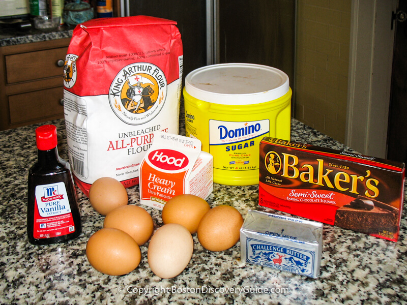 Ingredients for Boston Cream Pie
