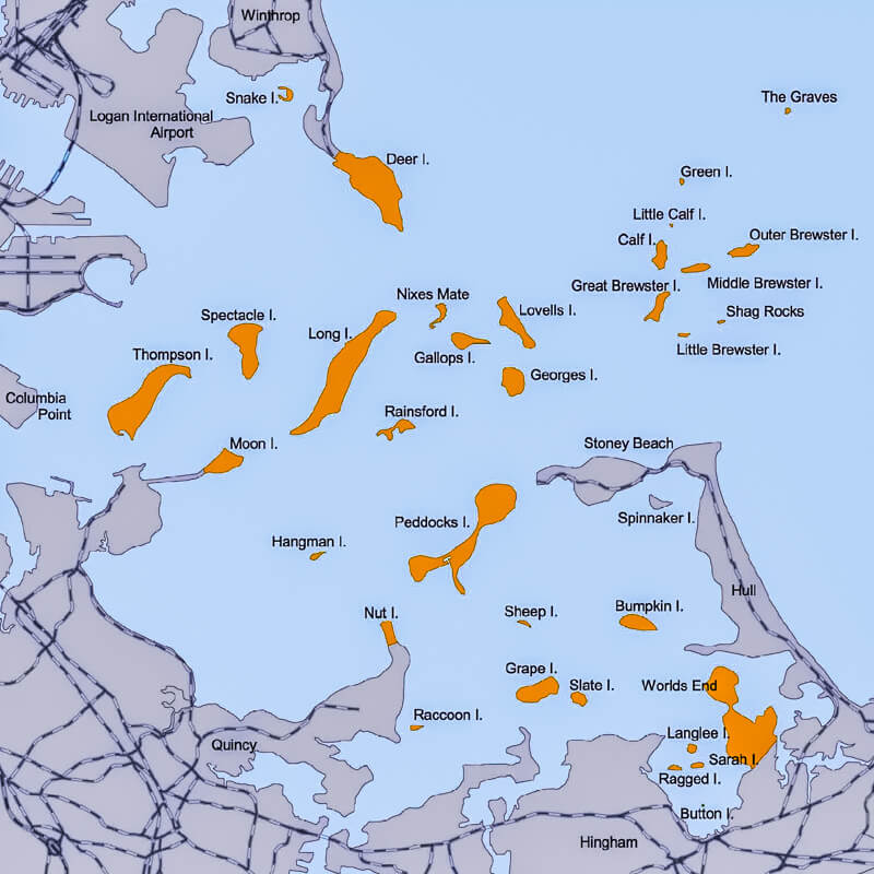 Map of Boston Harbor Islands, courtesy of the National Fisheries Service