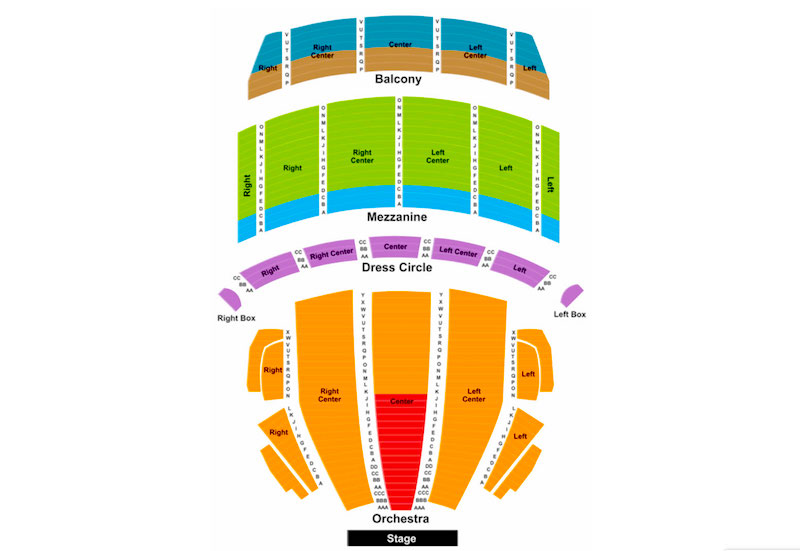 Seating map for Boston Opera House