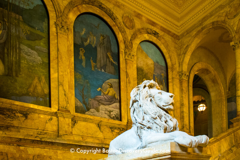 Boston Public Library - statue and paintings