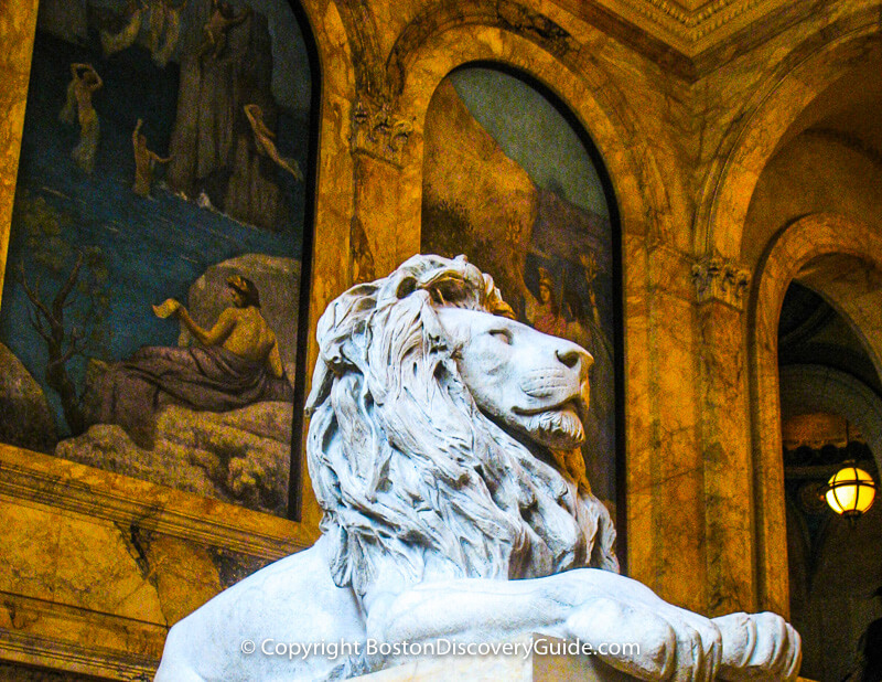 Murals and lion in the Boston Public Library