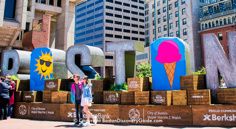 "Scooper Bowl takes over City Hall Plaza - and the ""Boston"" sign across from the big event!"