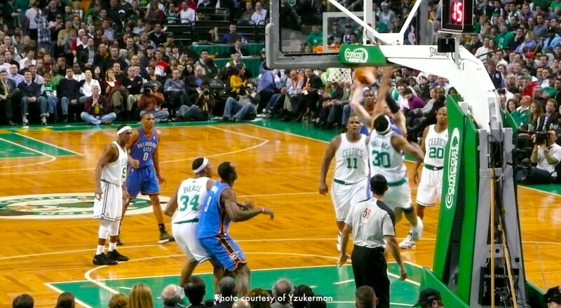 Boston Celtics defend against the Oklahoma City Thunder at the Garden
