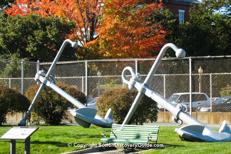 Anchors on display in the Charlestown Navy Yard