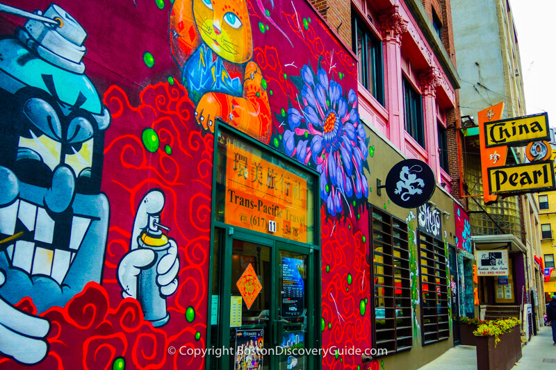 The colorful block where China Pearl Restaurant in Boston's Chinatown is located