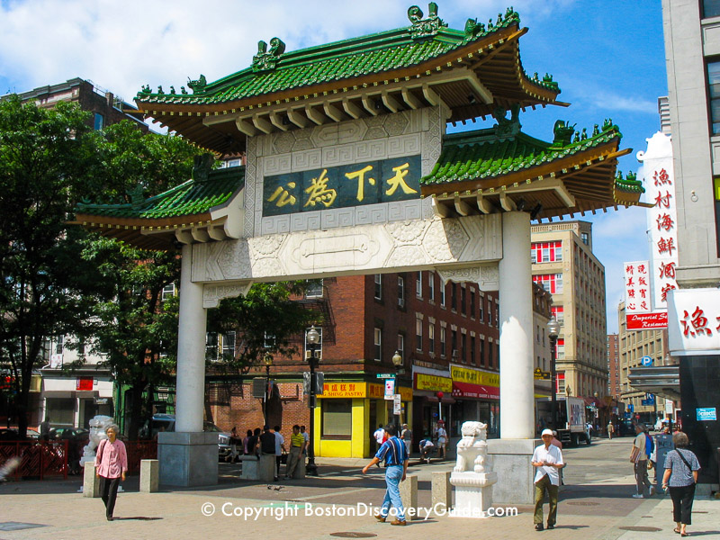 Traditional Chinatown Gate on Beach Street at the edge of Boston's Greenway