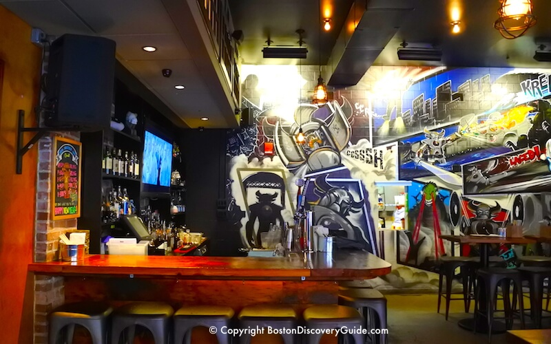 Manga mural and bar at trendy Shojo, Asian gastropub in Boston's Chinatown neighborhood