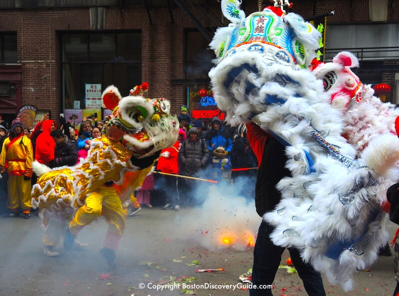 Boston Chinese New Year Parade - Lion Dance and firecrackers