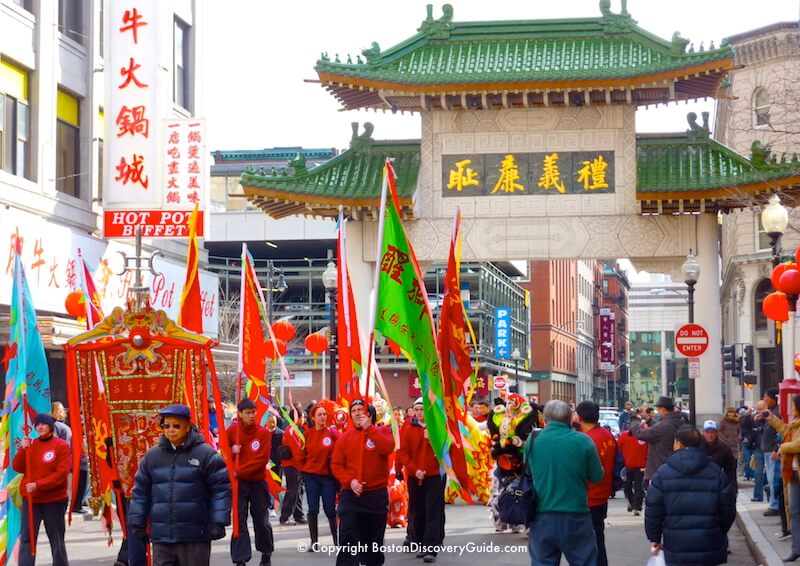 Boston Chinatown Gate with Chinese New Year Parade