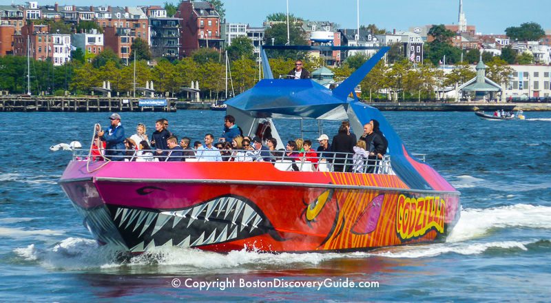 """Boston Duck tour """"splashing down"""" into the Charles River for the boat portion of the adventure"""