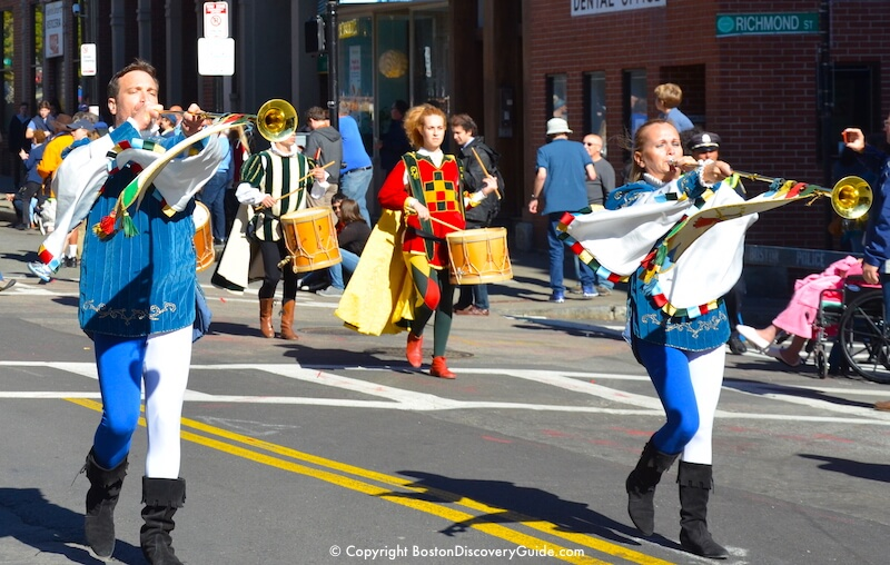 Columbus Day Parade - floats in Boston's North End neighborhood
