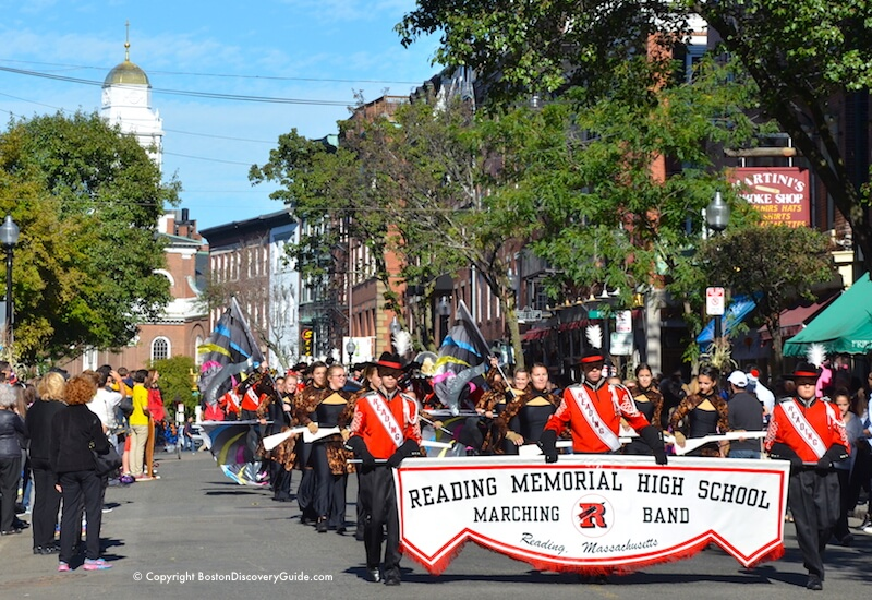 Reading Memorial High School band in Boston's Columbus Day Parade